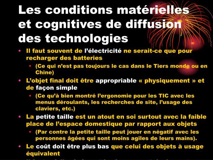 Les conditions matérielles et cognitives de diffusion des technologies