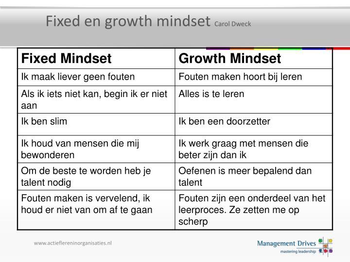 Fixed en growth mindset