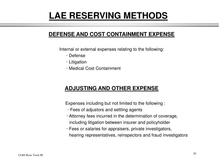 LAE RESERVING METHODS