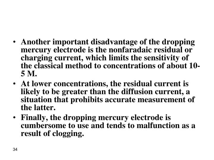 Another important disadvantage of the dropping mercury electrode is the nonfaradaic residual or charging current, which limits the sensitivity of the classical method to concentrations of about 10-5 M.