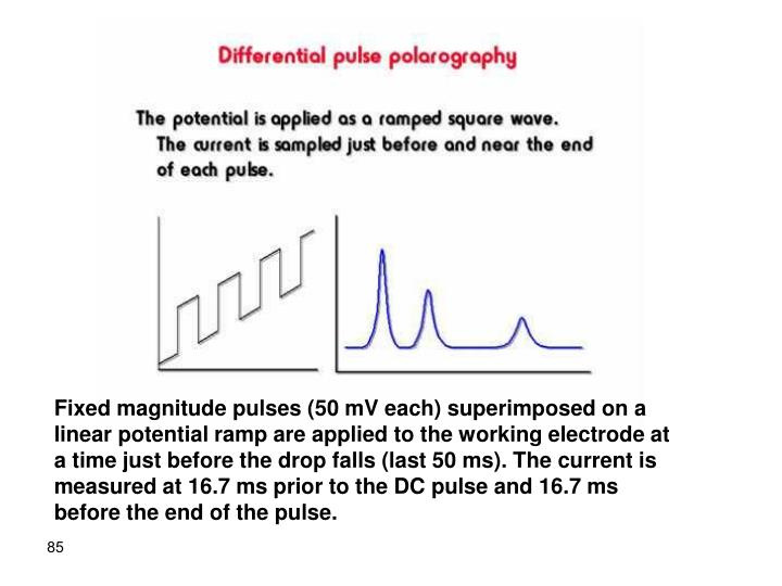 Fixed magnitude pulses (50 mV each) superimposed on a linear potential ramp are applied to the working electrode at a time just before the drop falls (last 50 ms). The current is measured at 16.7 ms prior to the DC pulse and 16.7 ms before the end of the pulse.