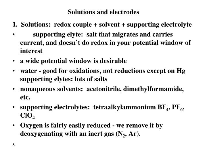 Solutions and electrodes