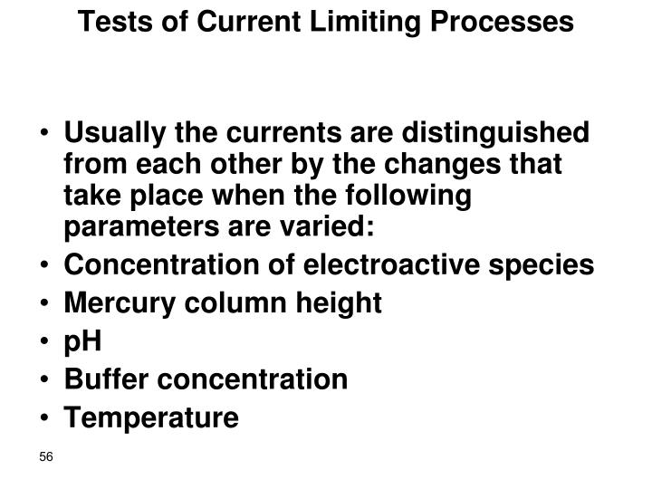 Tests of Current Limiting Processes