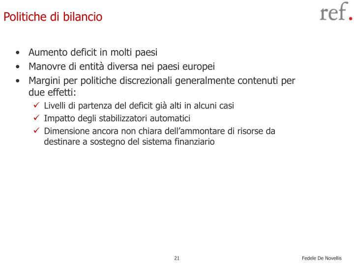 Aumento deficit in molti paesi