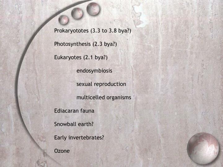 Prokaryototes (3.3 to 3.8 bya?)