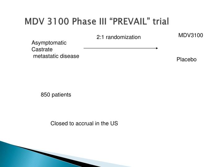 "MDV 3100 Phase III ""PREVAIL"" trial"