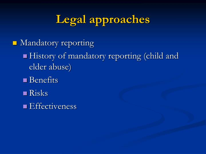 Legal approaches