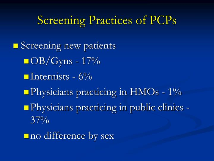 Screening Practices of PCPs