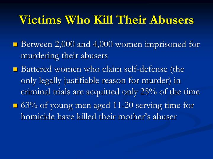Victims Who Kill Their Abusers