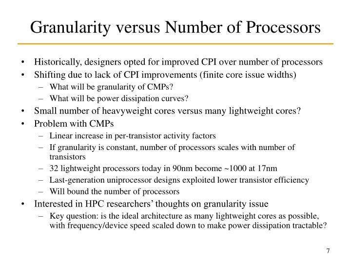 Granularity versus Number of Processors
