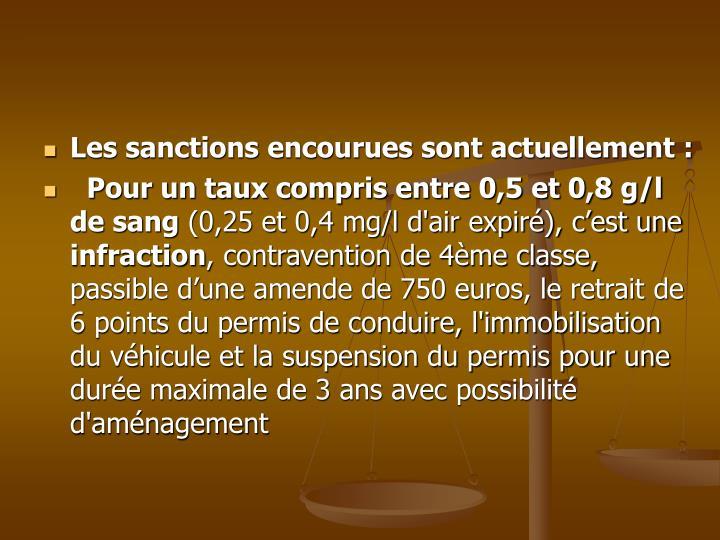 Les sanctions encourues sont actuellement :