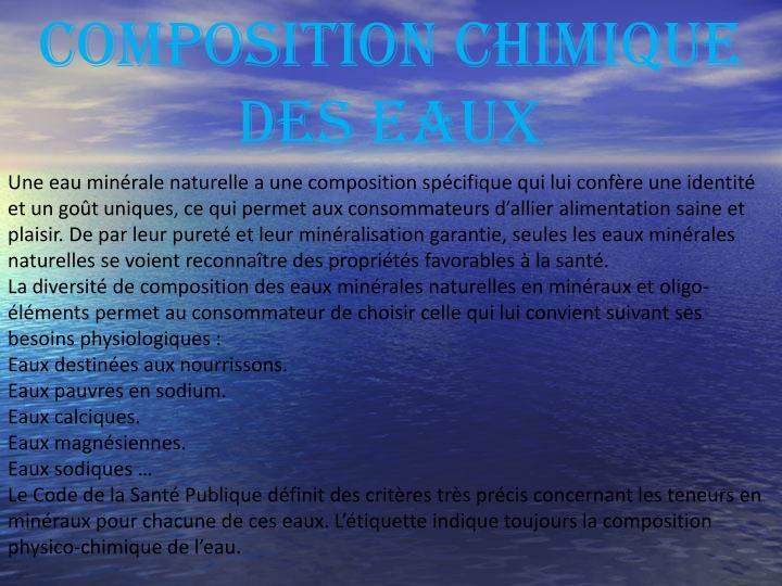 COMPOSITION CHIMIQUE DES EAUX