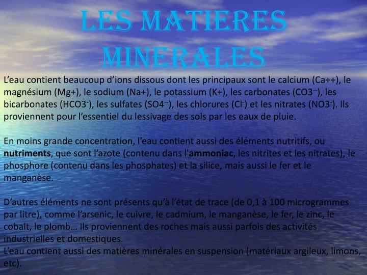LES MATIERES MINERALES