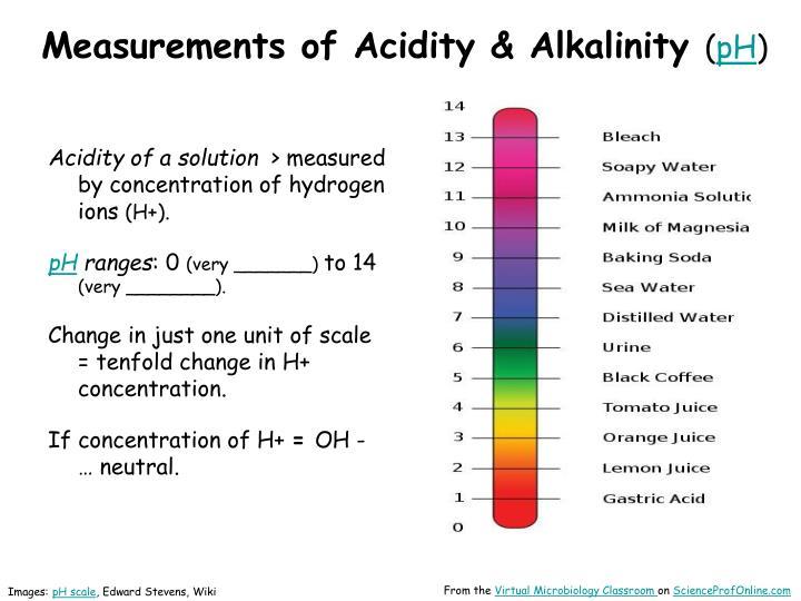 Measurements of Acidity & Alkalinity