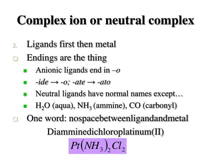Complex ion or neutral complex