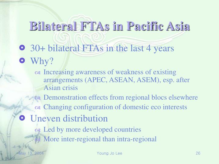 Bilateral FTAs in Pacific Asia