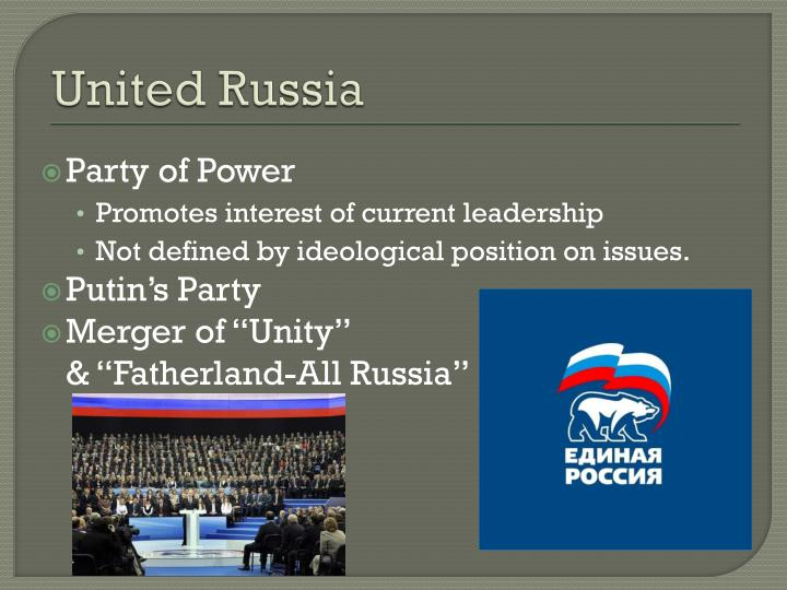 political parties in russia edited There are seven political parties in russia, but this has notalways been the case there used to be more than 100 politicalparties in russia as recent as the 1990s.