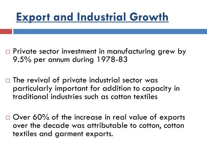 Export and Industrial Growth
