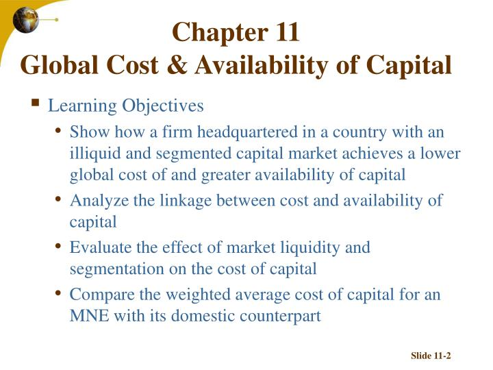 Chapter 11 global cost availability of capital