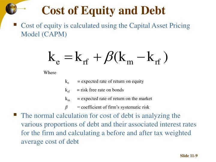 Cost of Equity and Debt