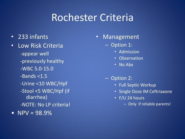 Rochester Criteria