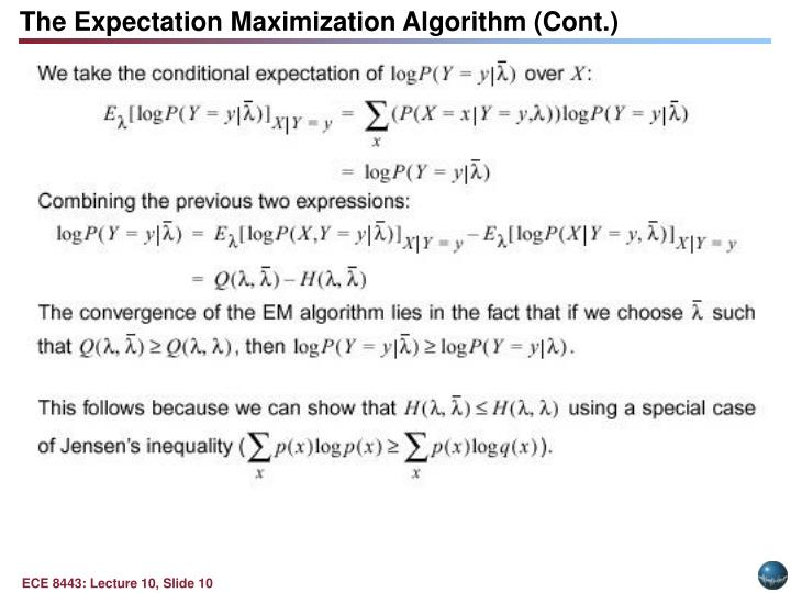 The Expectation Maximization Algorithm (Cont.)