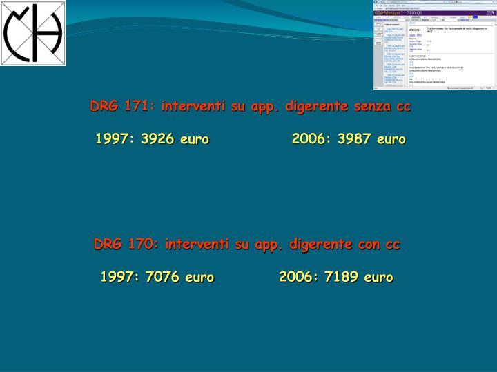 DRG 171: interventi su app. digerente senza cc