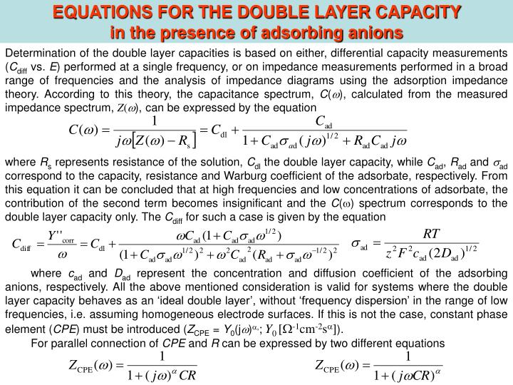 EQUATIONS FOR THE DOUBLE LAYER CAPACITY