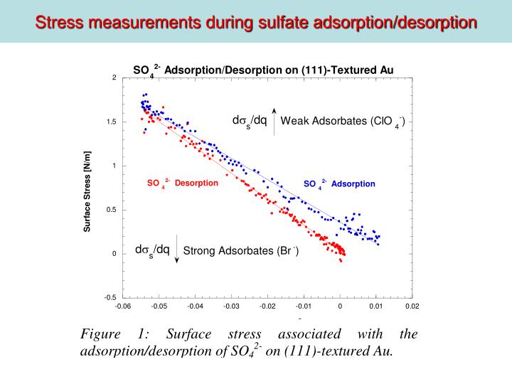 Stress measurements during sulfate adsorption/desorption