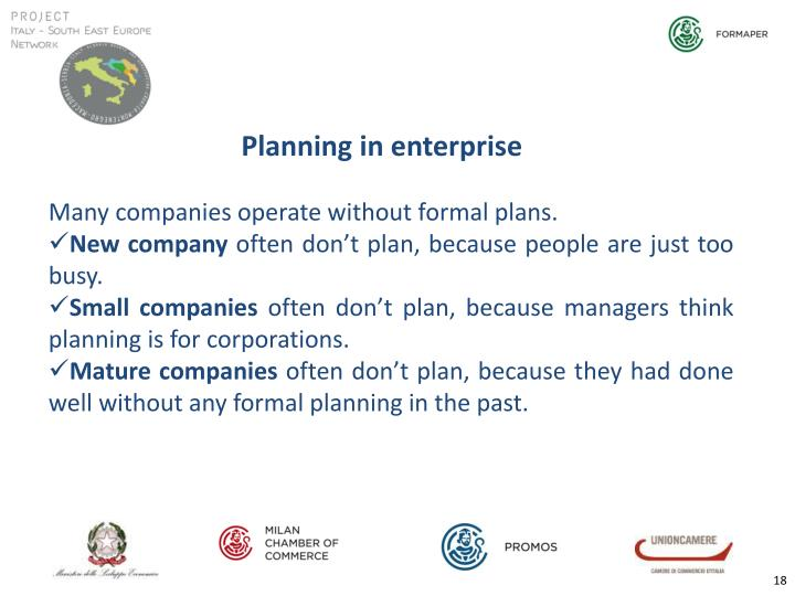 Planning in enterprise