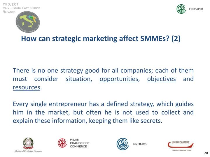 How can strategic marketing affect SMMEs? (2)