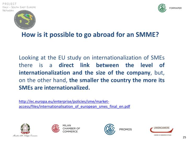 How is it possible to go abroad for an SMME?