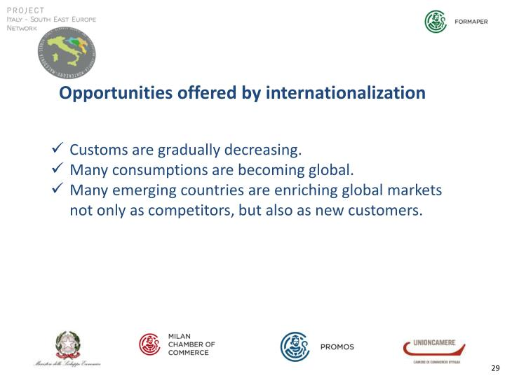 Opportunities offered by internationalization