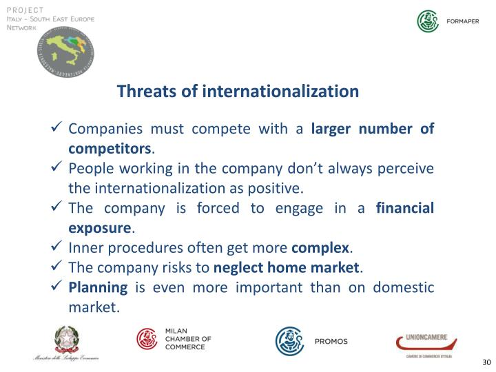 Threats of internationalization