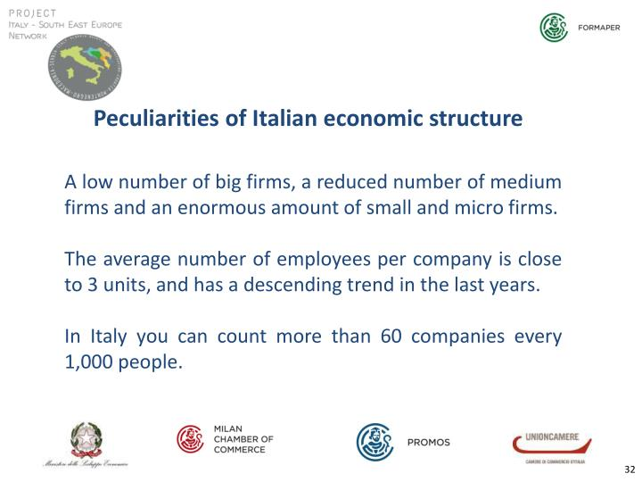 Peculiarities of Italian economic structure