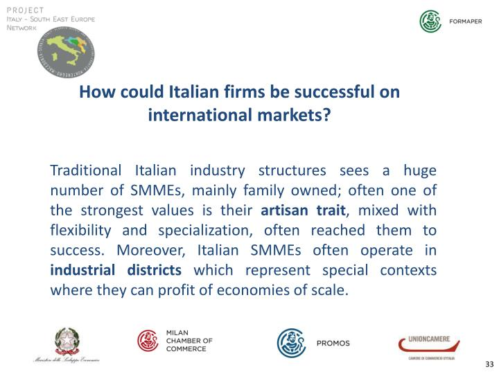How could Italian firms be successful on international markets?