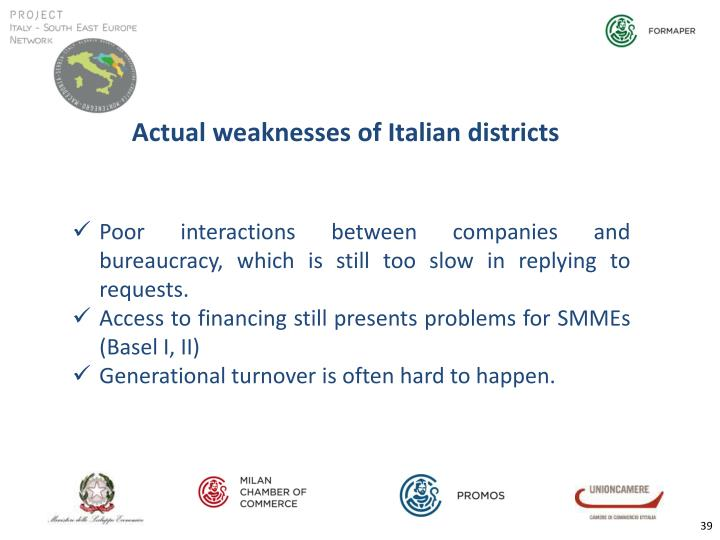 Actual weaknesses of Italian districts