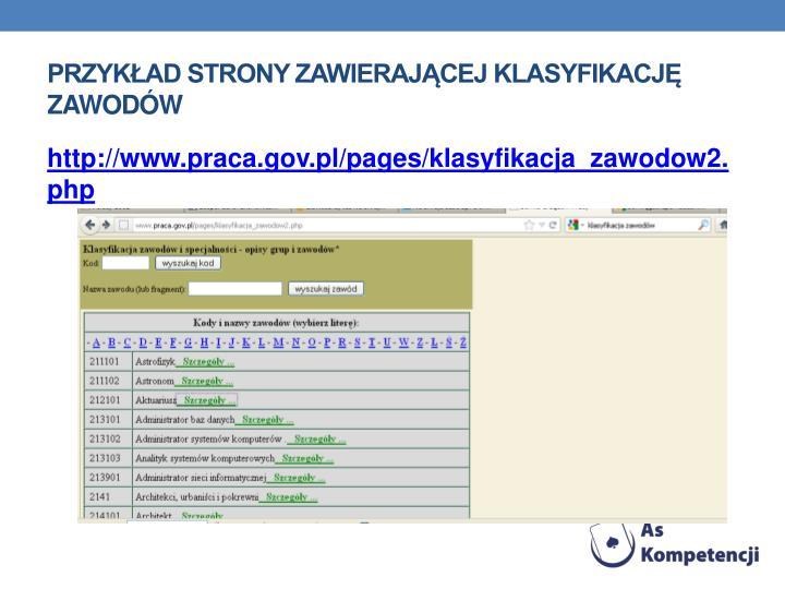 Przykad strony zawierajcej klasyfikacj zawodw