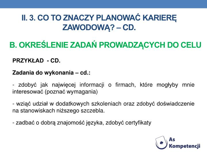 II. 3. Co to znaczy planowa karier zawodow?  cd.
