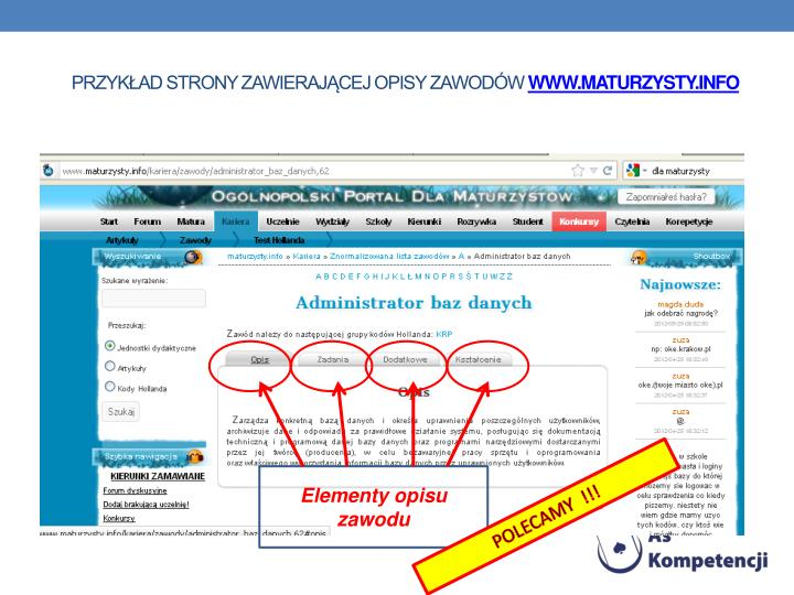 przykład strony zawierającej opisy zawodów