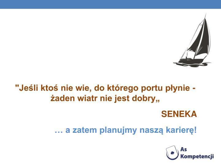 """""""Jeśli ktoś nie wie, do którego portu płynie - żaden wiatr nie jest dobry"""""""