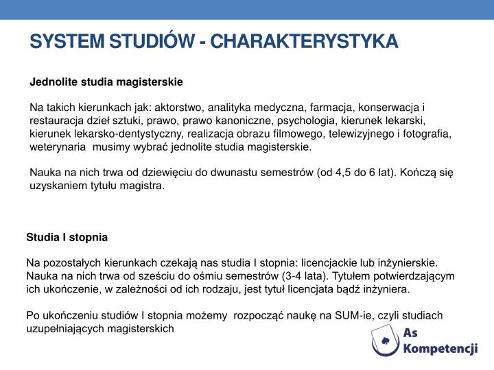 System studiów - charakterystyka