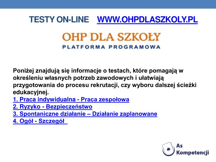 Testy on-