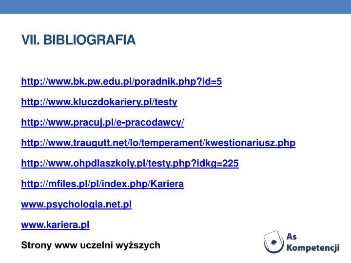 VII. Bibliografia