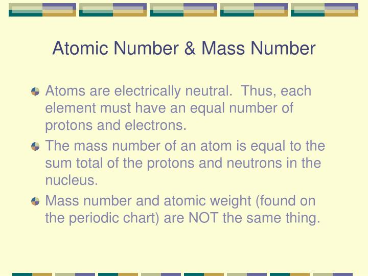 Atomic Number & Mass Number
