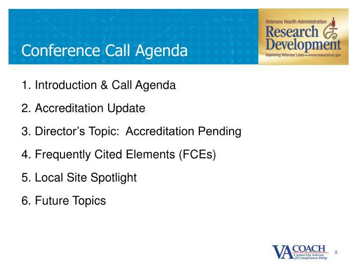 Conference Call Agenda
