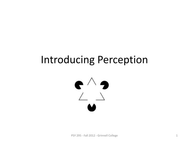 Introducing perception