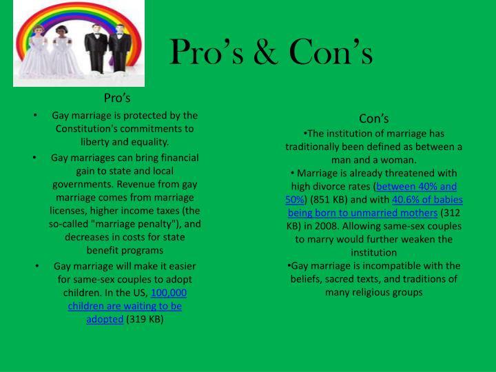 Pro's & Con's
