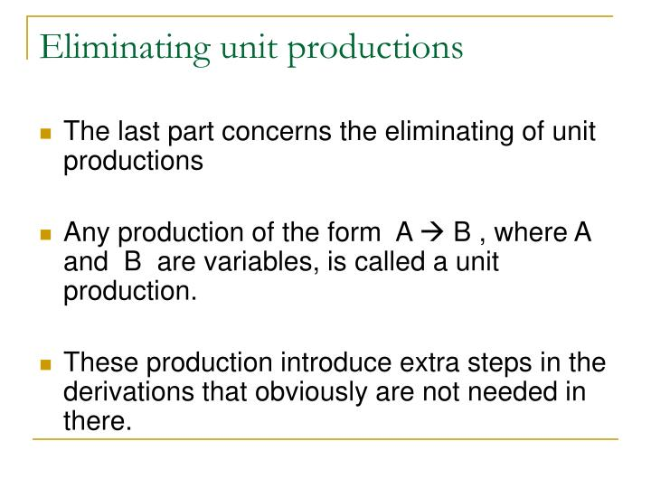 Eliminating unit productions