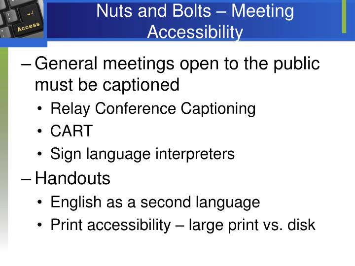 Nuts and Bolts – Meeting Accessibility